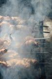 Stycken av kött som strängas på steknålar Royaltyfri Foto