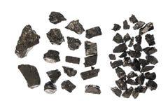 Stycken av kol-storleksanpassat kol royaltyfri fotografi