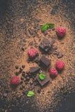 Stycken av mörka choklad, pulver, droppar och hallon Matefterrättbakgrund Arkivfoto
