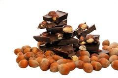 Stycken av mörk choklad med hasselnötter på en vit bakgrund Arkivbild