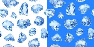 Stycken av naturlig is, sömlös modell royaltyfri fotografi