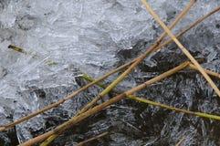 Stycken av is och läser royaltyfri foto