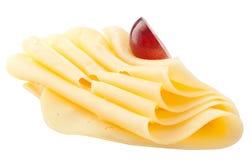 Stycken av ost som isoleras på vit Med den snabba banan royaltyfria foton