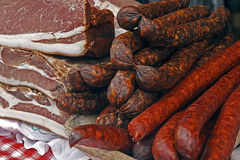 Stycken av rökt griskött bacon-7 Fotografering för Bildbyråer