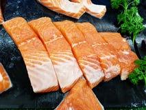 Stycken av Salmon Meat Royaltyfri Fotografi