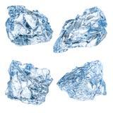 Stycken av is som isoleras på vit bakgrund Med den snabba banan fotografering för bildbyråer