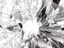 Stycken av splitted eller sprucket exponeringsglas på vit Arkivbilder