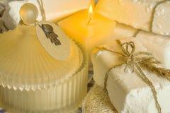 Stycken av tvål och stearinljuset Royaltyfri Bild