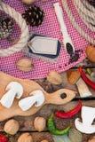 Stycken av vita champinjoner, peppar och kryddor Royaltyfri Bild
