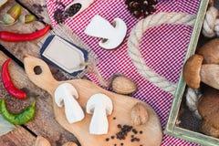 Stycken av vita champinjoner, peppar och kryddor Royaltyfri Foto