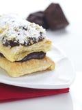 stycken för chokladfeuillemille arkivbild