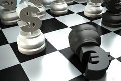 stycken för slagsmål för euro för schackdollarslut Royaltyfri Bild