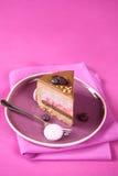 Stycket av Apple, blåbär och mjölkar den chokladEntremet kakan arkivbild
