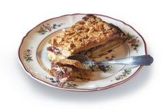 Stycket av den handgjorda kakan med mandlar och vinbäret sitter fast isolerat på vit royaltyfria foton