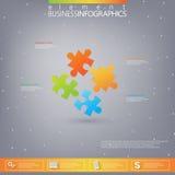 styckinfographics för pussel 3D Kan användas för rengöringsdukdesignen, diagram, för workfloworientering Royaltyfria Bilder
