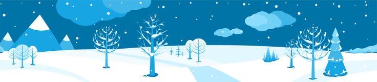 Styczeń 33c krajobrazu Rosji zima ural temperatury Horyzontalnej kreskówki płaska scena z spada śniegiem, ciemny niebo, różni drz ilustracja wektor