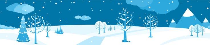 Styczeń 33c krajobrazu Rosji zima ural temperatury Horyzontalnej kreskówki płaska scena z spada śniegiem, ciemny niebo, różni drz ilustracji