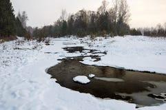 Styczeń 33c krajobrazu Rosji zima ural temperatury Rzeka Woda płynie w zimie Fotografia Royalty Free