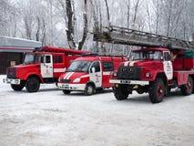 Styczeń 2017, Kharkov, Ukraina Maszynowa pożarnicza ochrona na drodze Zdjęcie Stock