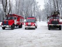 Styczeń 2017, Kharkov, Ukraina Maszynowa pożarnicza ochrona na drodze Fotografia Stock