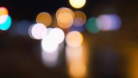 Styczeń 18, 2018, Mtsensk, Rosja Artykuł wstępny - bokke miasta ulicy Zamazani samochody w mieście przy nocą Reflektory zbiory