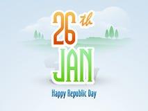 26 Styczeń, Szczęśliwy Indiański republika dnia świętowanie z tekstem Obraz Royalty Free