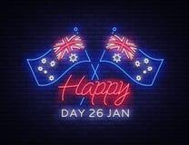 Styczeń 26th na Australia dniu Neonowy znak, świecący sztandar, jaskrawa nocy reklama, neonowy billboard Obywatel konceptualny Obrazy Royalty Free