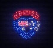 Styczeń 26th na Australia dniu Neonowy znak, świecący sztandar, jaskrawa nocy reklama, neonowy billboard Obywatel konceptualny Zdjęcie Royalty Free