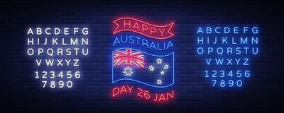 Styczeń 26th na Australia dniu Neonowy znak, świecący sztandar, jaskrawa nocy reklama Krajowy konceptualny kartka z pozdrowieniam Zdjęcie Royalty Free