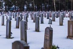 Styczeń 22, 2017: Nagrobki w Skogskyrkogarden cmentarzu ja Zdjęcie Stock