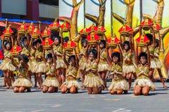 Styczeń 24th 2016 Iloilo, Filipiny Festiwal Dinagyang Unid zdjęcie stock