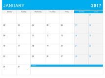 2017 Stycznia kalendarz & x28; lub biurka planner& x29; z notatkami Obraz Stock