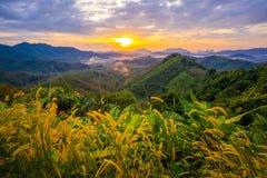 1 Stycznia 2018-Phang nga: Wschód słońca przy Phu Ta Tun punkt widzenia Phang nga prowincją obraz stock
