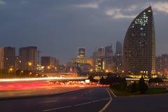 Stycznia zmierzch w nowożytnym Baku Zdjęcie Royalty Free