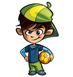 Stygg pojke som rymmer en fotbollboll Arkivfoto