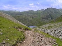 Styhead Tarn seen from Windy Gap, Lake District Royalty Free Stock Photography