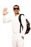 Styish guy with backpack Royalty Free Stock Images