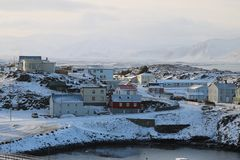 Stykkisholmur, Ισλανδία, χειμερινό πανόραμα Στοκ Φωτογραφία