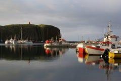 Stykkisholmur Harbor. Boats docked at the marina in Stykkisholmur, Iceland Stock Photo