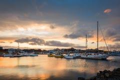 Stykkisholmurhaven bij zonsondergang Stock Afbeeldingen