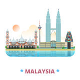 Styl liso dos desenhos animados do molde do projeto do país de Malásia
