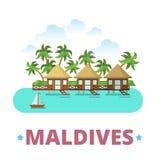 Styl liso dos desenhos animados do molde do projeto do país de Maldivas ilustração do vetor