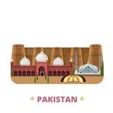 Styl plat de bande dessinée de calibre de conception de pays du Pakistan Photos stock