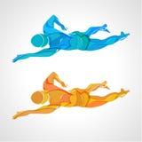Styl wolny pływaczki koloru sylwetka Sport pływacka atleta royalty ilustracja
