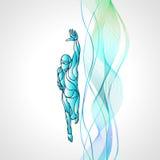 Styl wolny pływaczki sylwetka Sport pływacka atleta royalty ilustracja