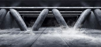 Style élégant moderne formé par triangle vide foncée Hall de Sci fi de colonnes de Hall Underground Cement Grunge Concrete de gar illustration libre de droits