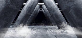 Style élégant moderne formé par triangle vide foncée Hall de Sci fi de colonnes de Hall Underground Cement Grunge Concrete de gar illustration stock