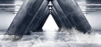 Style élégant moderne formé par triangle vide foncée Hall de Sci fi de colonnes de Hall Underground Cement Grunge Concrete de gar illustration de vecteur