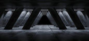 Style élégant moderne formé par triangle vide foncée Hall Tunnel Corridor de Sci fi de colonnes de Hall Underground Cement Grunge illustration libre de droits