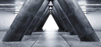 Style élégant moderne formé par triangle vide lumineuse Hall Tunnel de Sci fi de colonnes de Hall Underground Cement Grunge Concr illustration stock